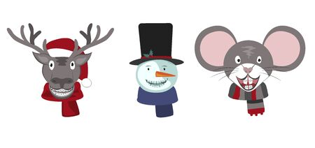 Set of Christmas Deer, Snowman, and Mouse with Dentist Teeth Braces. Dentistry Winter Season Concept, Vector Illustration. Funny 2020 Holidays Orthodontic Symbol icons