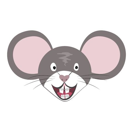 Vector Mouse Animal, the Chinese zodiac symbol. Flat cartoon rat head with teeth braces, grey mouse face isolated. Year symbol for dentistry clinics, poster, banner, print, advertisement Illusztráció