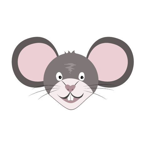 Smiling Rat or Mouse Face Icon Isolated on white. Vector flat illustration on a white background. Year of the rat Chinese symbol. Archivio Fotografico - 135381630