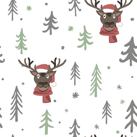 Vector Christmas seamless pattern with cute cartoon deer, trees, and snowflakes. White, black, and grey palette. Scandinavian winter background. Design for fabric, paper, card, web banner, invitation