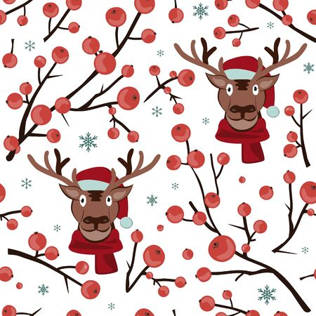 Seamless Christmas hawthorn pattern with deer face. Background for winter cards, textile, or wrapping paper. Vector illustration