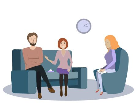 Family couple psychotherapy session, vector illustration. Young angry women speaks about her offence and resentment against the husband. Gestalt psychotherapist woman and her patiients Ilustracja