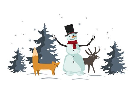 Christmas vector with funny cartoon forest animals and snowman in the winter forest. Design for posters, banners, sales and other winter events.