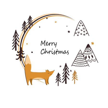 Christmas stylish card with cute fox, doodle mountains, and trees. Round frame isolated on white. Doodle sketch. Vector illustration Ilustracja
