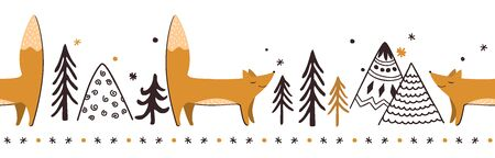 Doodle winter Red Fox Vector Seamless Horizontal Border. Trees, fox, and mountains