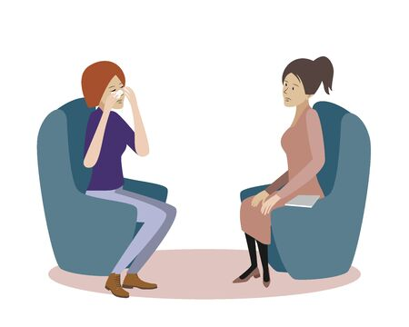 Psychotherapy session vector illustration. Woman psychologist and crying woman patient. Work with feelings and emotions, society psychiatry concept Archivio Fotografico - 134674911