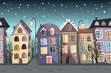 Seamless winter border with cute houses and trees. Christmas vector background Archivio Fotografico - 135381660