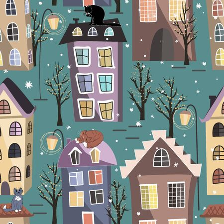 Seamless winter city houses, cats, and trees pattern. Cozy town street under fairy snowfall. Christmas vector background