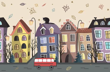 Autumn City Houses seamless background. Old city street. Ancient building border. Doodle pattern. Vector illustration.