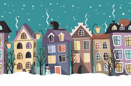 Seamless winter border with cute houses and trees. Christmas vector background  イラスト・ベクター素材