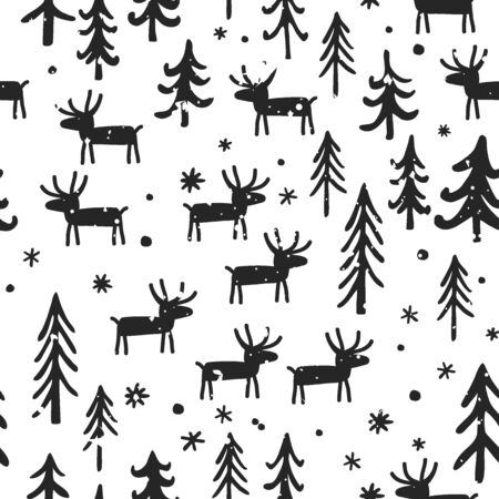 Vector Christmas seamless pattern with cartoon deer, trees, and snowflakes. White, and black palette. Scandinavian winter background. Ilustracja