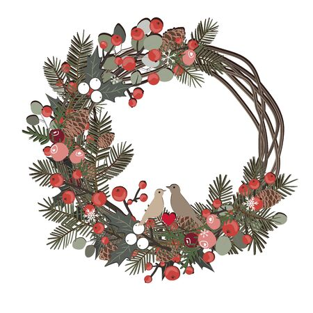 Beautiful Christmas decorative wreath of vine and pine branches, berries, ilex, cedar cones, and cute birds isolated on white background. Vector Archivio Fotografico - 135268432
