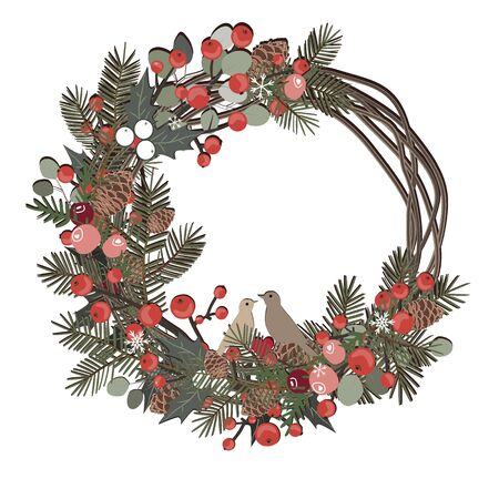 Beautiful Christmas decorative wreath of vine and pine branches, berries, ilex, cedar cones, and cute birds isolated on white background. Vector illustration