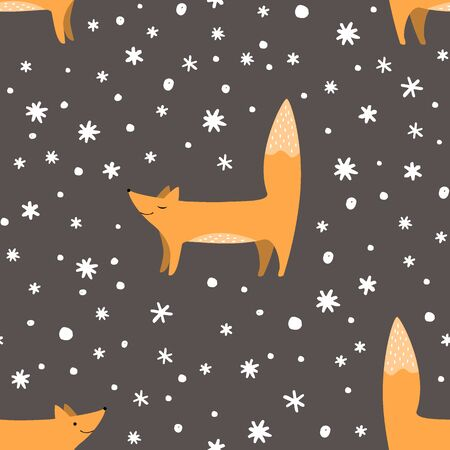 Foxes and snowflakes seamless pattern.