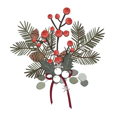 A simple rural Christmas composition - branches of a Christmas tree cedar, berries, and cones. Isolated vector illustration on white Archivio Fotografico - 135486858