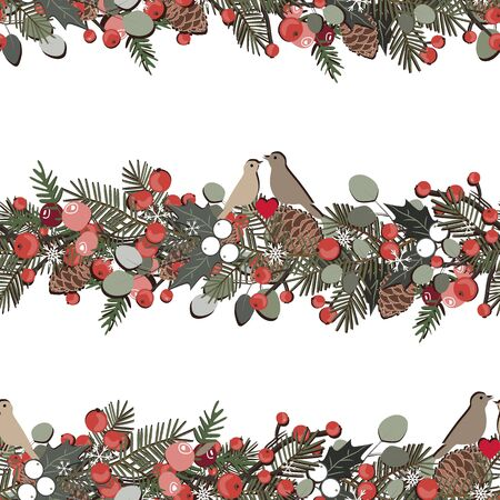 Christmas seamless pattern with fir tree branches, berries, ilex, eucalyptus, birds and pine cones garland. Holidays background isolated on white Ilustracja