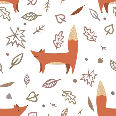 Lovely seamless pattern with cute foxes and autumn leaves. Awesome forest background in bright colors. Vector illustration