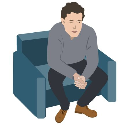 Depressed or tired young man on the sofa. Vector illustration