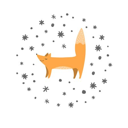 Fox and doodle snowflakes background. Winter background with cute animals. Scandinavian style. Vector illustration.