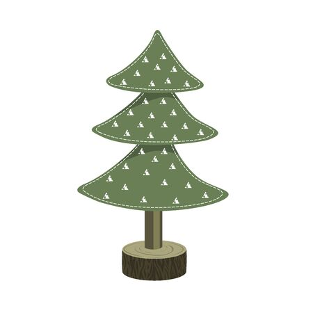 Handmade Christmas tree toy from felt on wooden stand. Vector illustration