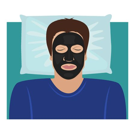 The man lying with a black clay or carbon peeling mask on the face. Vector illustration