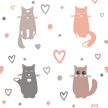 Valentine Day  with cats and hearts on white Ilustracja