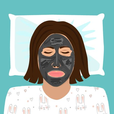 Young beautiful woman in pyjamas is relaxing at home with applied black peel-off mask on her face. Vector illustration