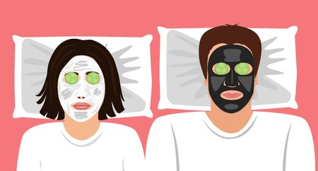 Funny Vector illustration of a married couple with clay masks on the face and cucumbers in front the ears. Spa at home. skin care.
