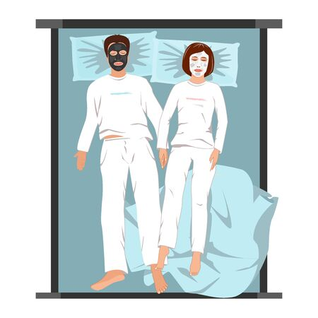 Man and woman in face masks lying back on the bed. Evening spa relaxing at home, vector illustration