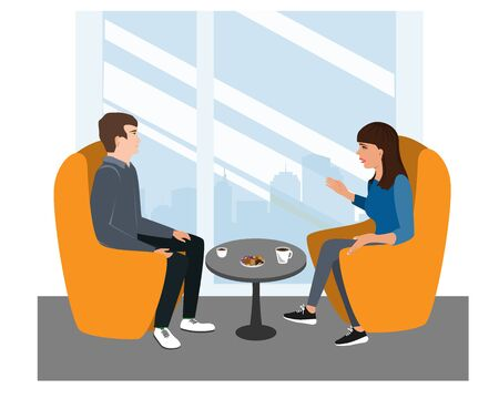 Woman and Man are seating in chairs and discussing some topic. Friends or Businessman And Businesswoman Talk, vector illustration
