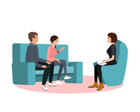Married couple on sofa and woman psychologist or psychotherapist sitting in front of them. Marriage crisis, family conflict, relationship problem. Flat cartoon vector illustration