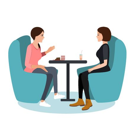 Two young woman chatting in a coffee shop. Best friends meeting, vector illustration