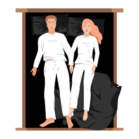 Couple sleeping in bed top view vector illustration. Man and woman sleeping together and holding their hands