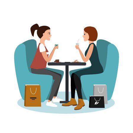 Two happy pretty girls sitting at the cafe after shopping isolated over white background. Vector flat illustration