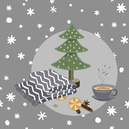 Cozy hygge Christmas things on seamless doodle hand drawn snowflakes background. Vector illustration