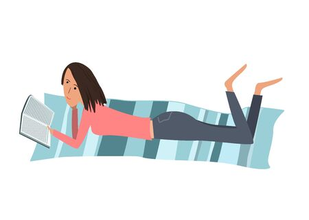 Vector cartoon illustration with a pretty woman reading a book while lying on her stomach on a mat. Sketch style character