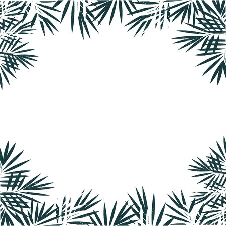 Hand drawn frame background of tropical palm leaves. Abstract vector background.