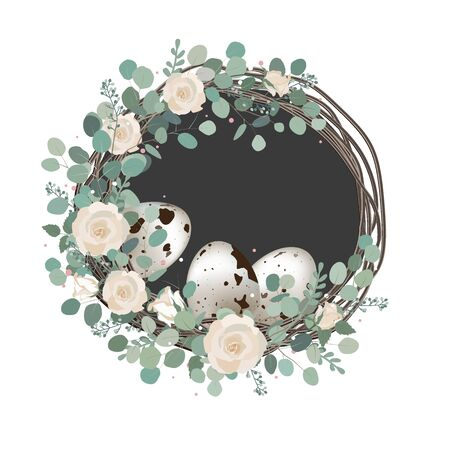 Happy Easter Spring vector card with roses, eucalyptus branches, and quail eggs. Rustic vintage composition on white, home decor