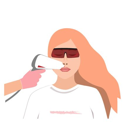 Laser hair removal in professional studio. Upper lip hair removing. Vector illustration