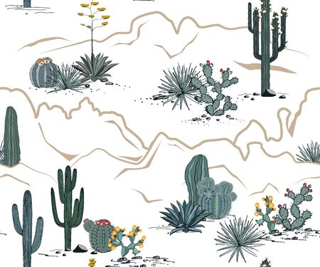 Desert seamless pattern with mountains, blooming cacti, opuntia, and saguaro. Vector background.