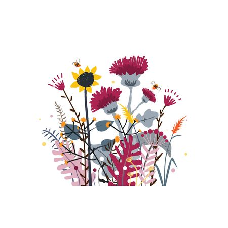 Wild and honey meadow flowers bunch. Vector nature background with hand drawn wild herbs, flowers and leaves on white.