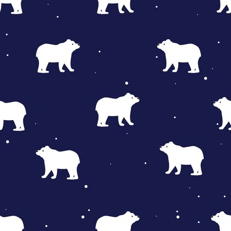 Seamless pattern with cute polar bears in simple cartoon style on blue background