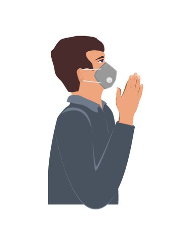 Man wearing a protection mask and praying for defeating coronavirus. Religion and Covid-19 dangerous virus in 2020, vector illustration