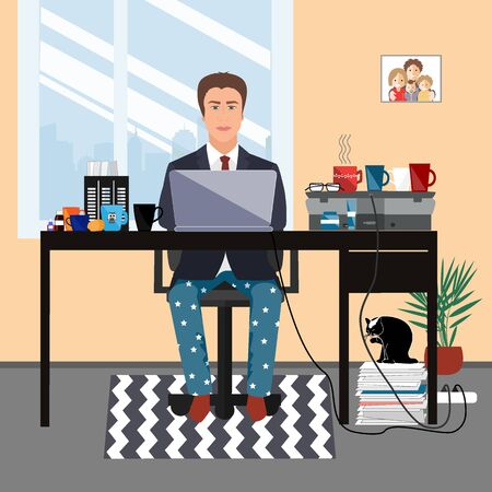 Middle aged businessman in a suit jacket and pajama bottoms working from home using laptop computer. Covid or coronavirus quarantine concept. Vector flat style illustration isolated on white