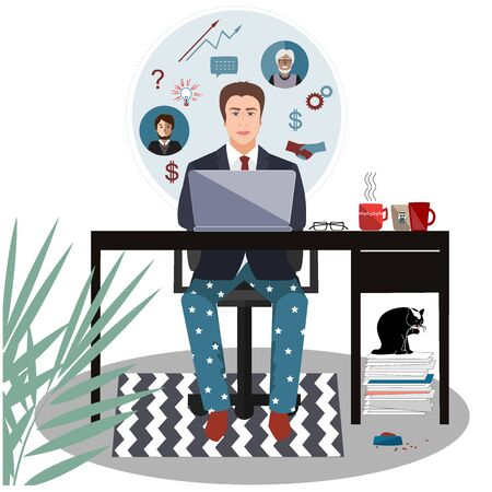 Businessman in a suit jacket and pajama bottoms working from home using laptop computer. Covid or coronavirus quarantine concept, self isolation. Vector flat style illustration isolated on white Çizim