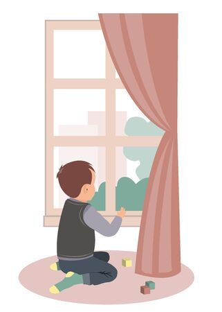 Sad little boy sitting at the window. Stay at home campaign for coronavirus prevention. Vector illustration Vecteurs