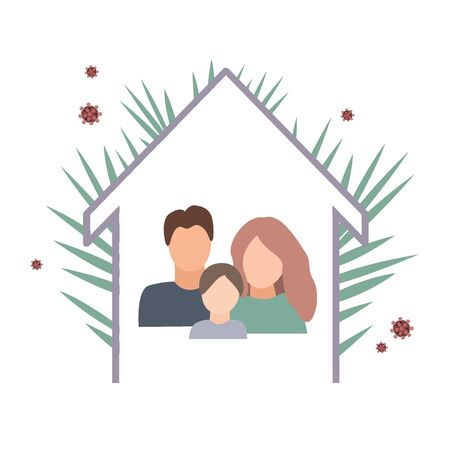 Coronavirus quarantine concept with family staying at home. Flat cartoon vector illustration