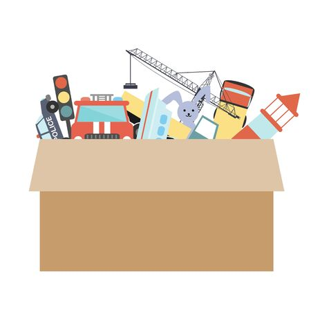 Cardboard box with kids toys on a white background. Vector illustration. Room organization or charity concept. 向量圖像