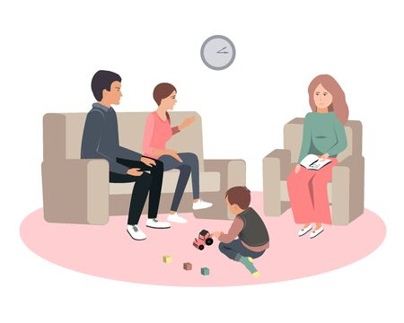 Caring parents and misbehaving boy during therapy session with psychologist counselor. Vector illustration