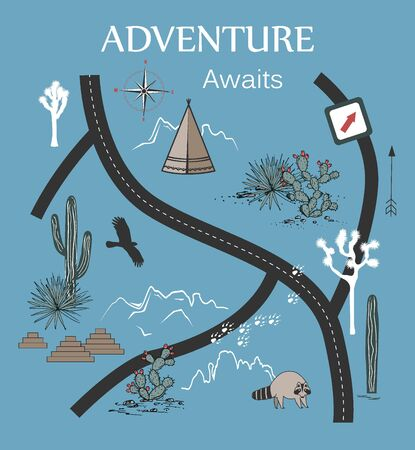 Roads, Mountains and Cacti Adventure Map. Design for print, tapestry or poster with native Americans tribal elements. Vector illustration
